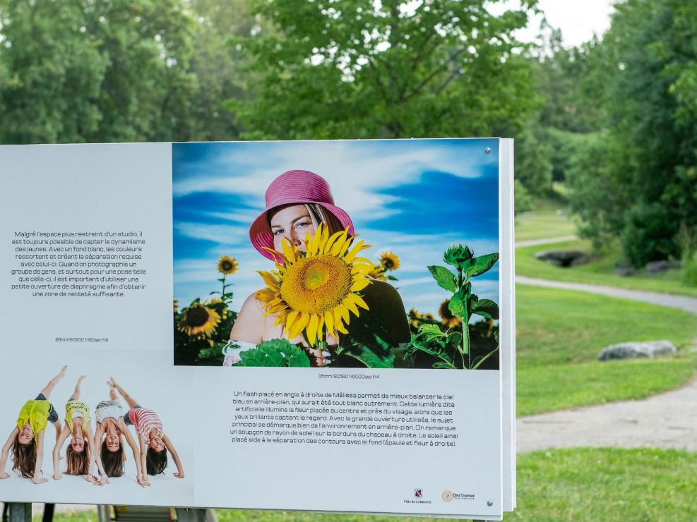 Outdoor exhibit in ville Lorraine Colourful portraits realized in studio and in a sunflower field