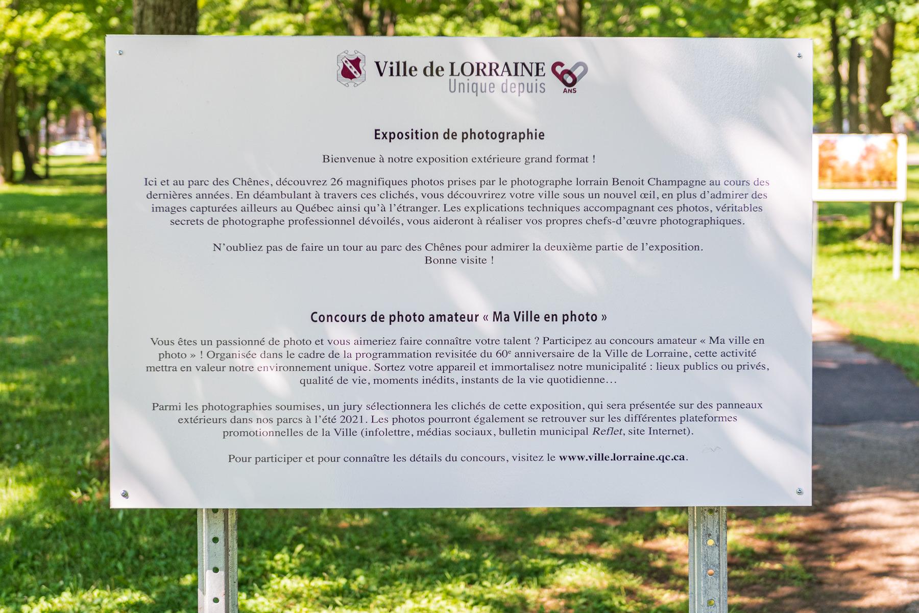 Panneau exposition en plein air au parc Lorraine, KW:  Lorraine