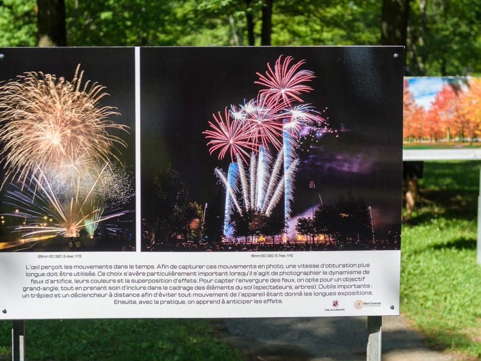 Fête de la St-Jean.   Panneau exposition en plein air au parc Lorraine, KW:  Lorraine